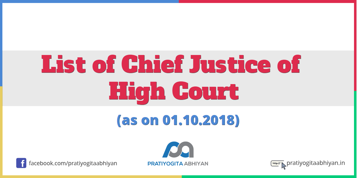 List of Chief Justice of the High Court (as on 01.10.2018)