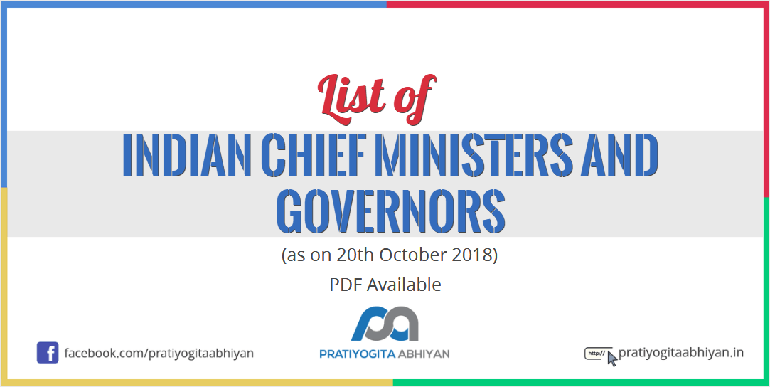 List of Indian Chief Ministers and Governors (as on 20th October 2018)